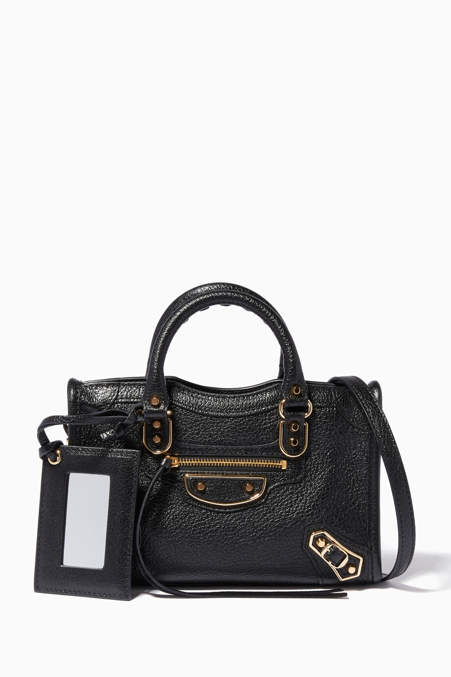9bd3f92281 Shop Balenciaga Black Black Nano Classic Metallic Edge City Cross ...