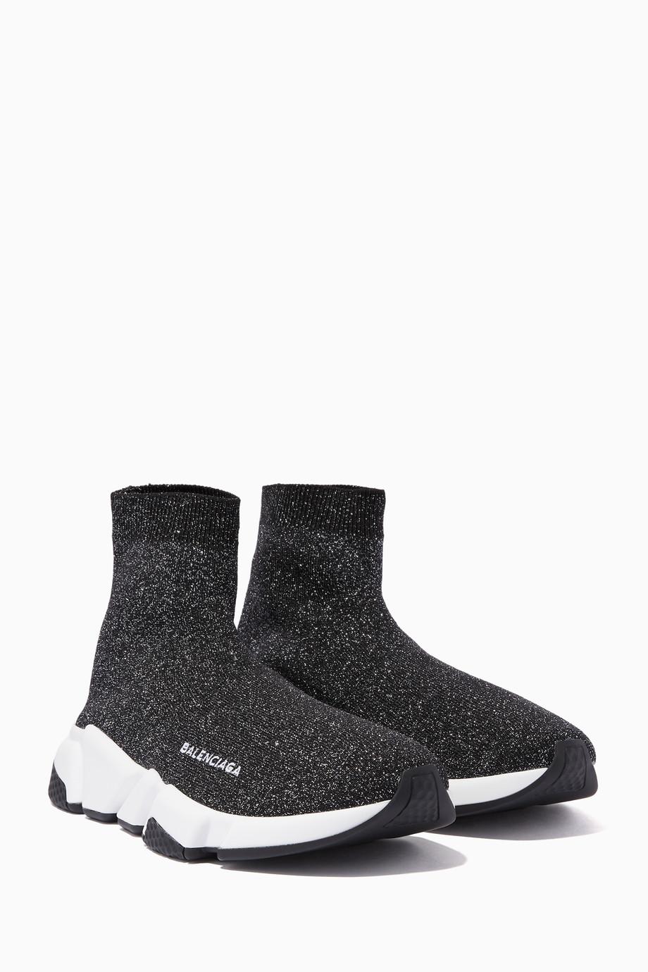 e91863a9da5c Shop Balenciaga Black Black Lurex Speed High-Top Sneakers for Women ...
