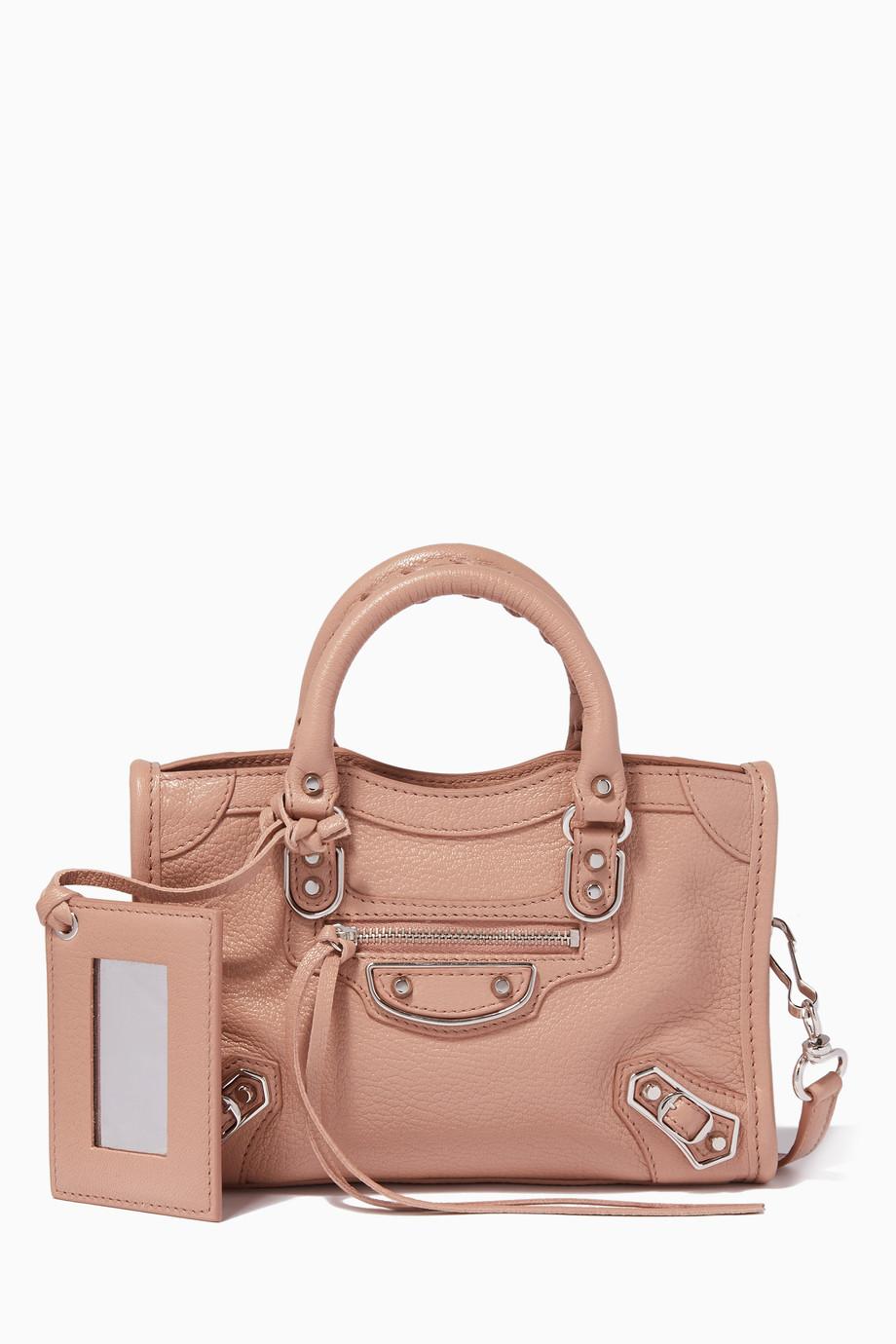 pas cher pour réduction 0549d 21ff5 Shop Balenciaga Pink Rose Des Sables Nano Classic Metallic ...