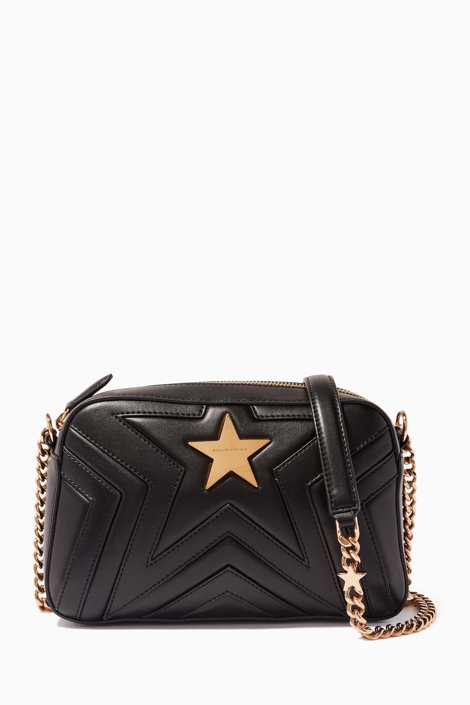 eeb85111de Shop Stella McCartney Black Black Small Stella Star Quilted Shoulder ...