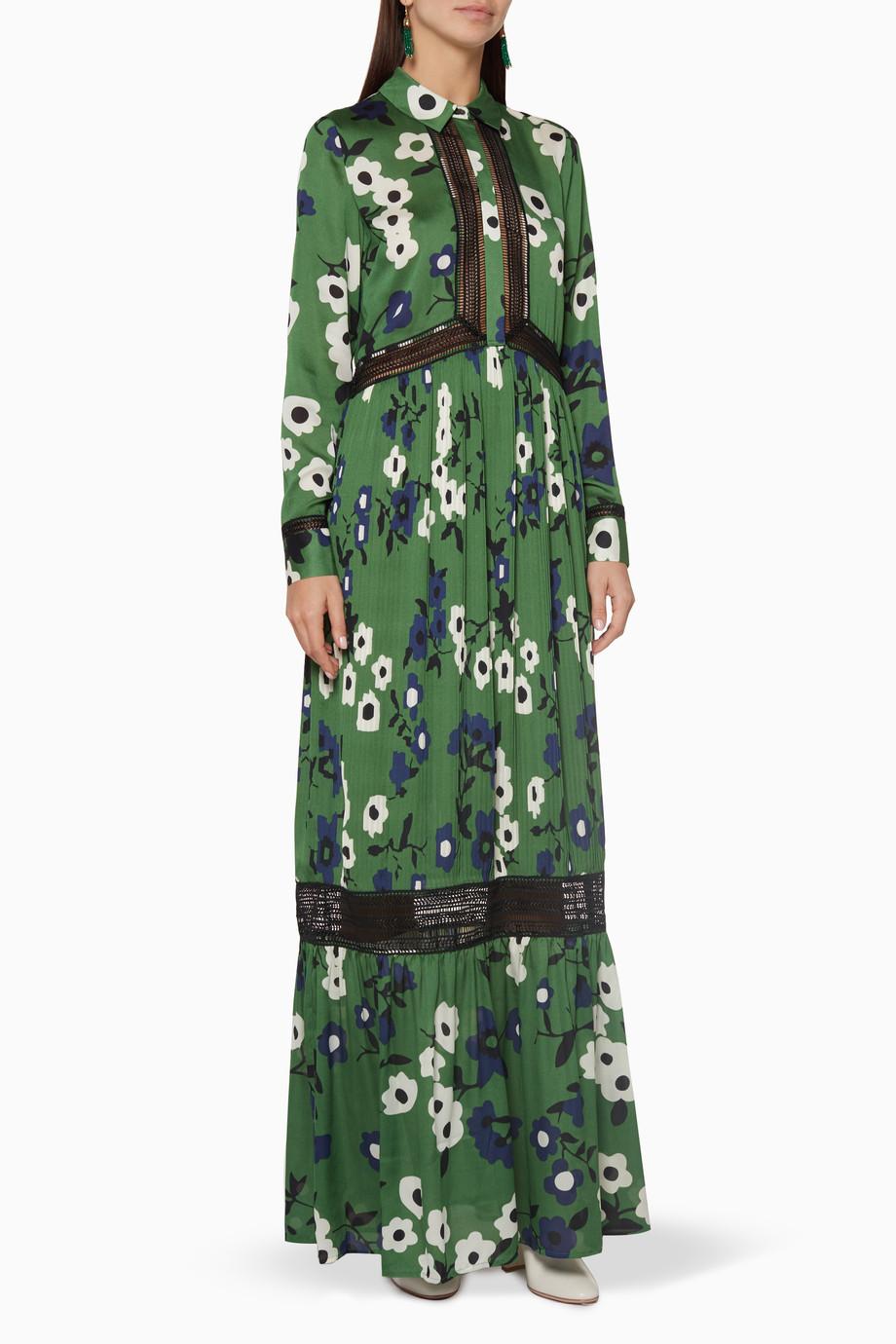 37adc941c3c5 Shop Self-Portrait Green Green Ebony Printed Shirtdress for Women ...