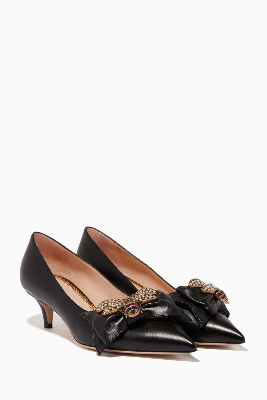 67f919c87f5 Shop Gucci Black Black Queen Margaret Bow Embellished Pumps for ...