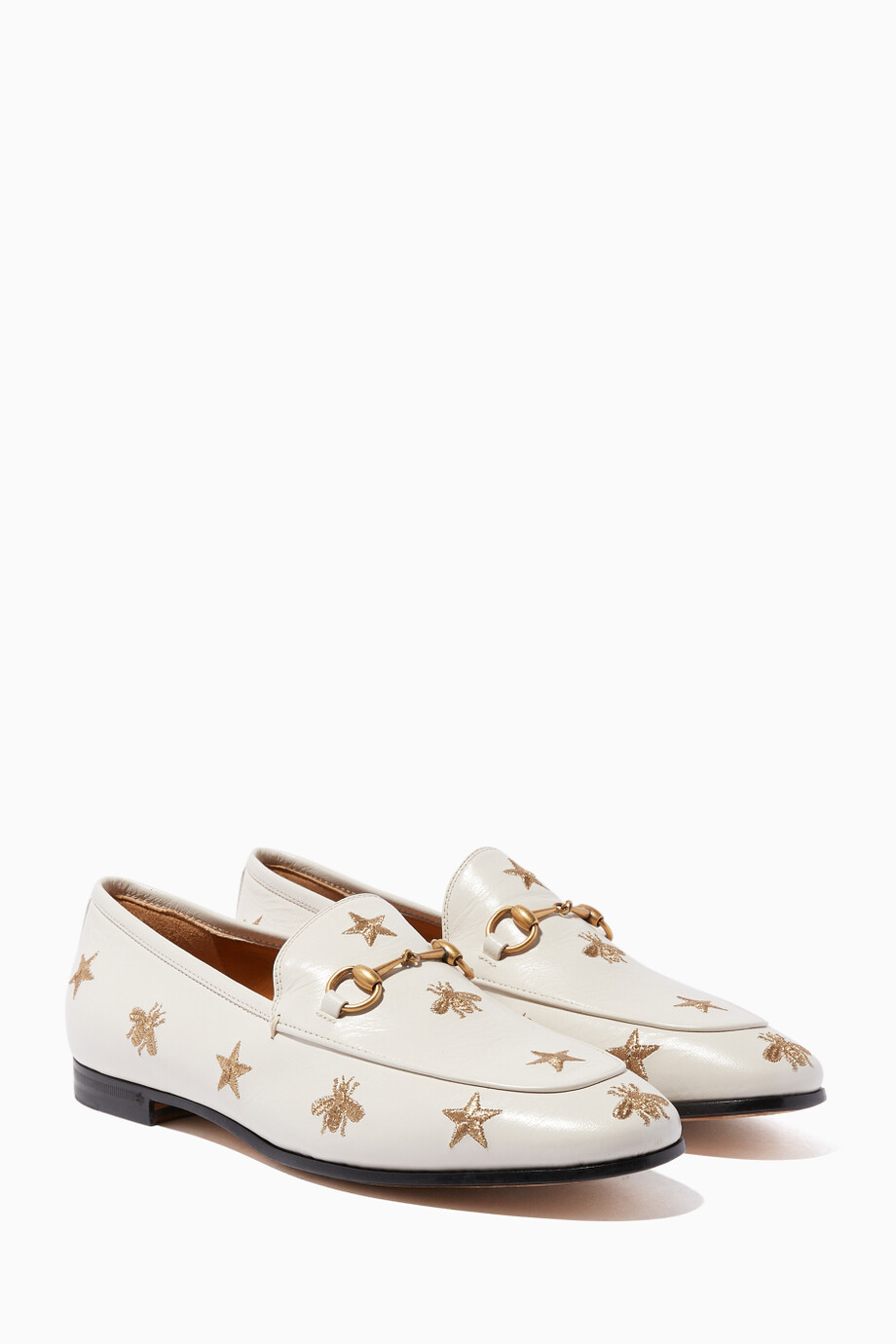 45ace9650 Shop Gucci Neutral Gucci Jordaan Embroidered Leather Loafers for ...