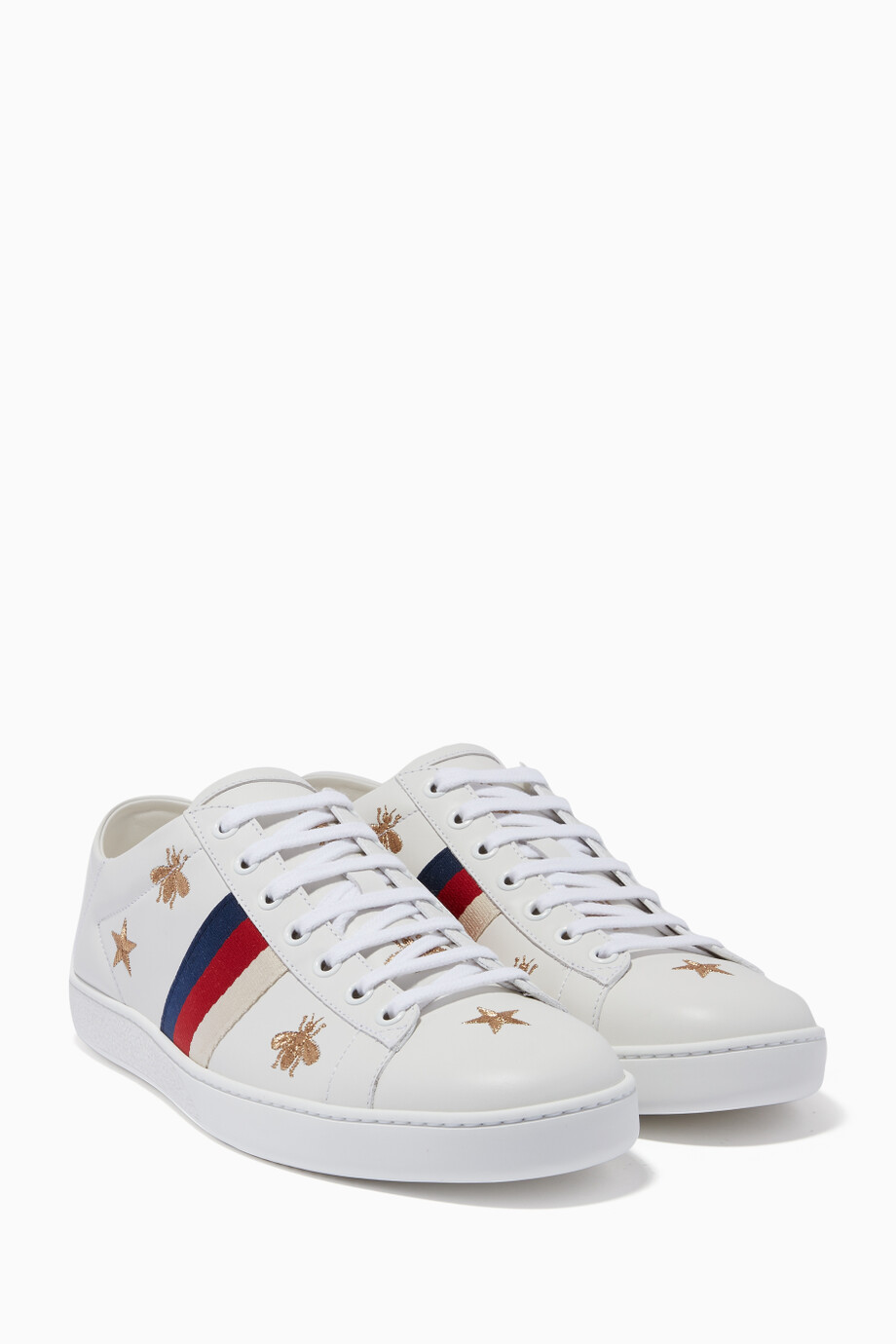 6b4599aad44 Shop Gucci White White Ace Sylvie Bee   Star Embroidered Sneakers ...