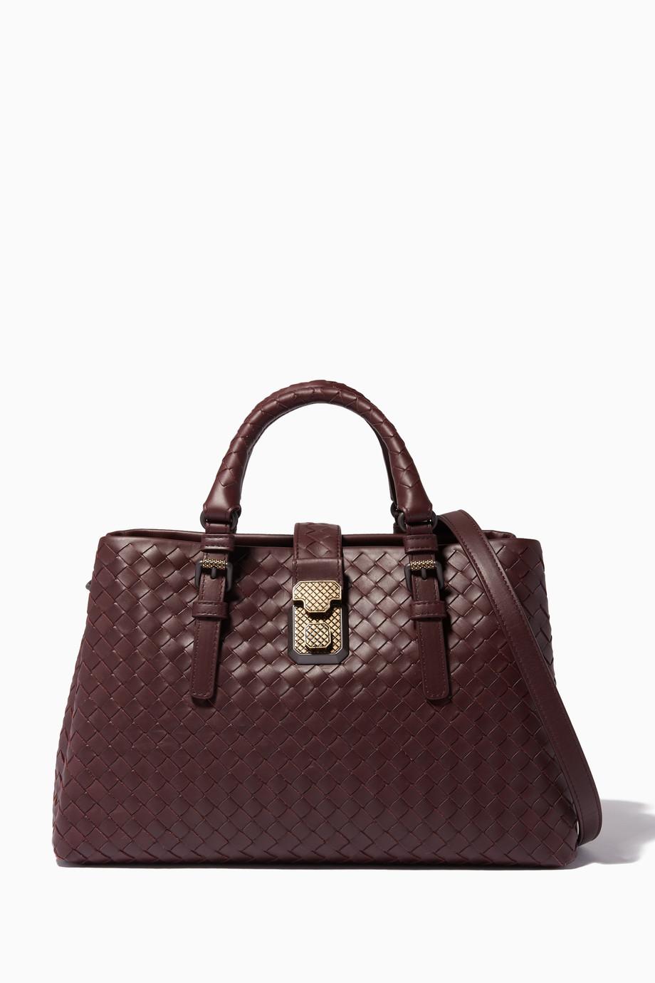 76c6da1cc0ec Shop Bottega Veneta Red Dark-Red Small Roma Intrecciato Leather Tote Bag  for Women