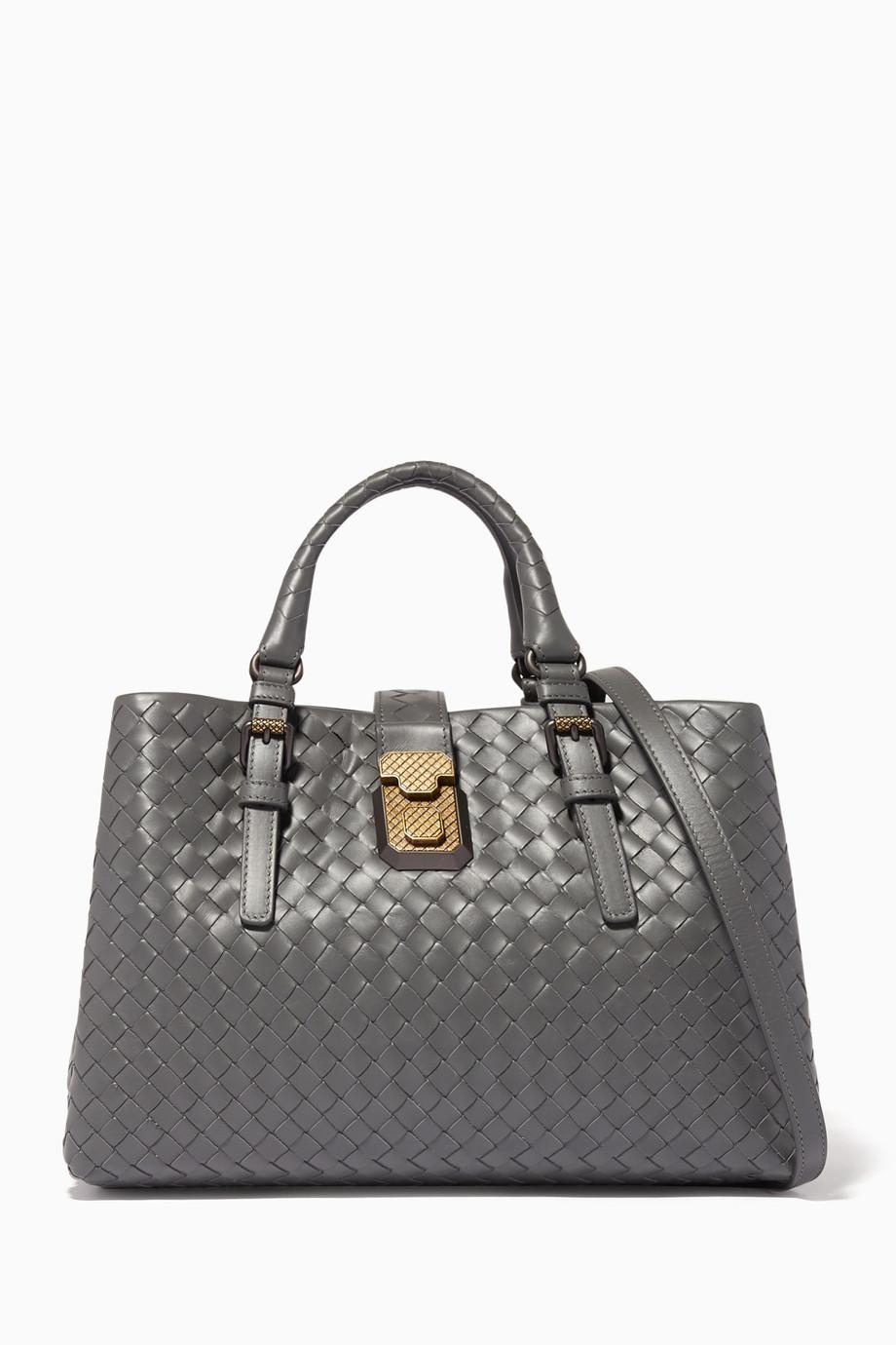 14e2a9d1e8c8 Shop Bottega Veneta Grey Light-Grey Small Roma Intrecciato Leather Tote Bag  for Women
