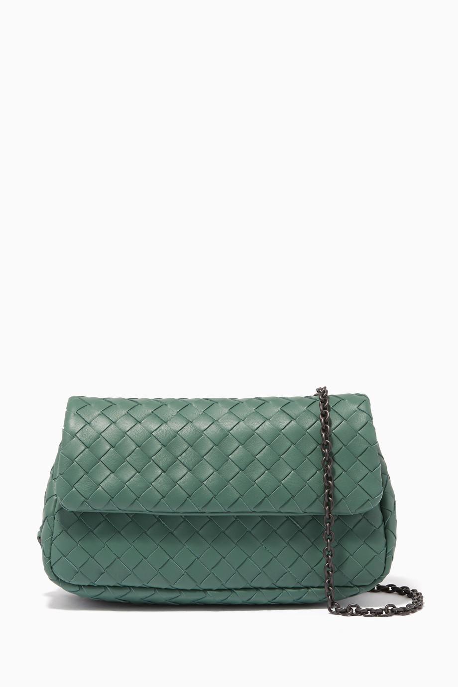 d346144222 Shop Bottega Veneta Green Green Mini Intrecciato Messenger Cross ...