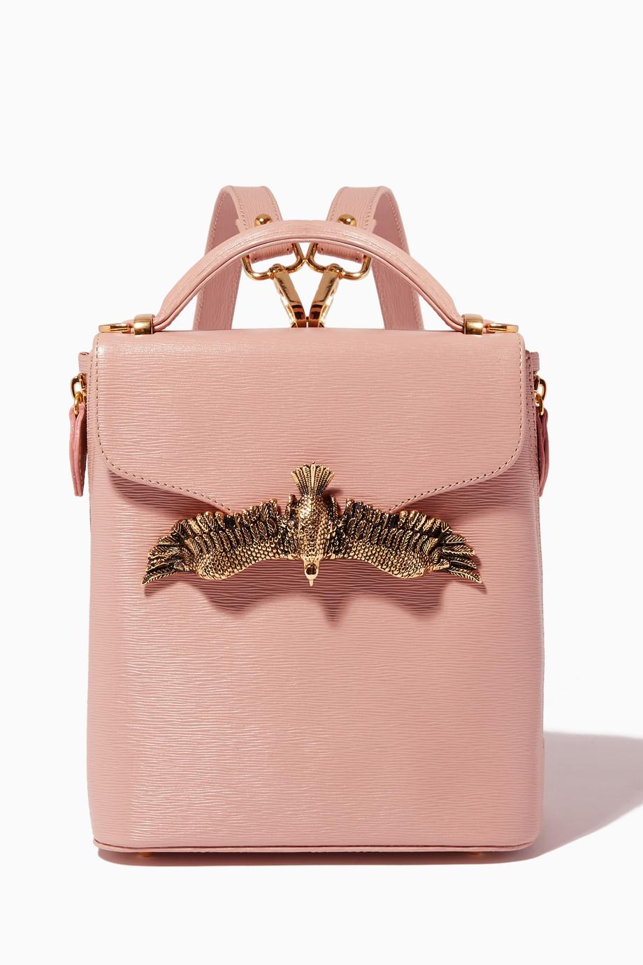 87374d34c9 Shop Moni   J Neutral Nude Mini Lizard-Effect Leather Backpack for ...