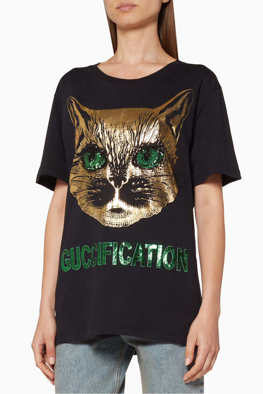 2731e84a Shop Gucci Multicolour Black Mystic Cat Printed T-Shirt for Women ...