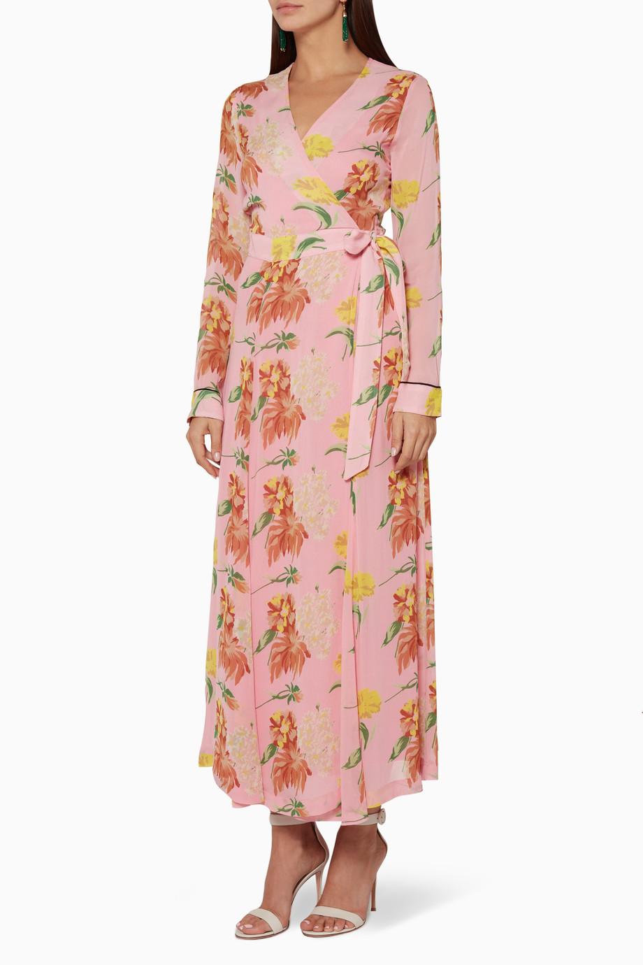 8d825df5 Shop Ganni Pink Pink Marceau Georgette Maxi Dress for Women | Ounass UAE