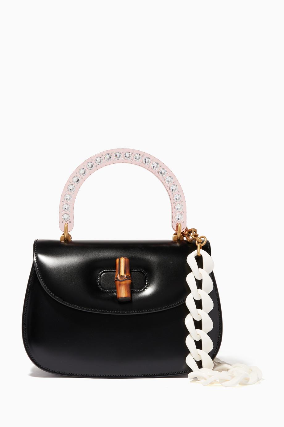 11d0543edf0d Shop Gucci Black Black Medium Bamboo Leather Top Handle Bag for ...