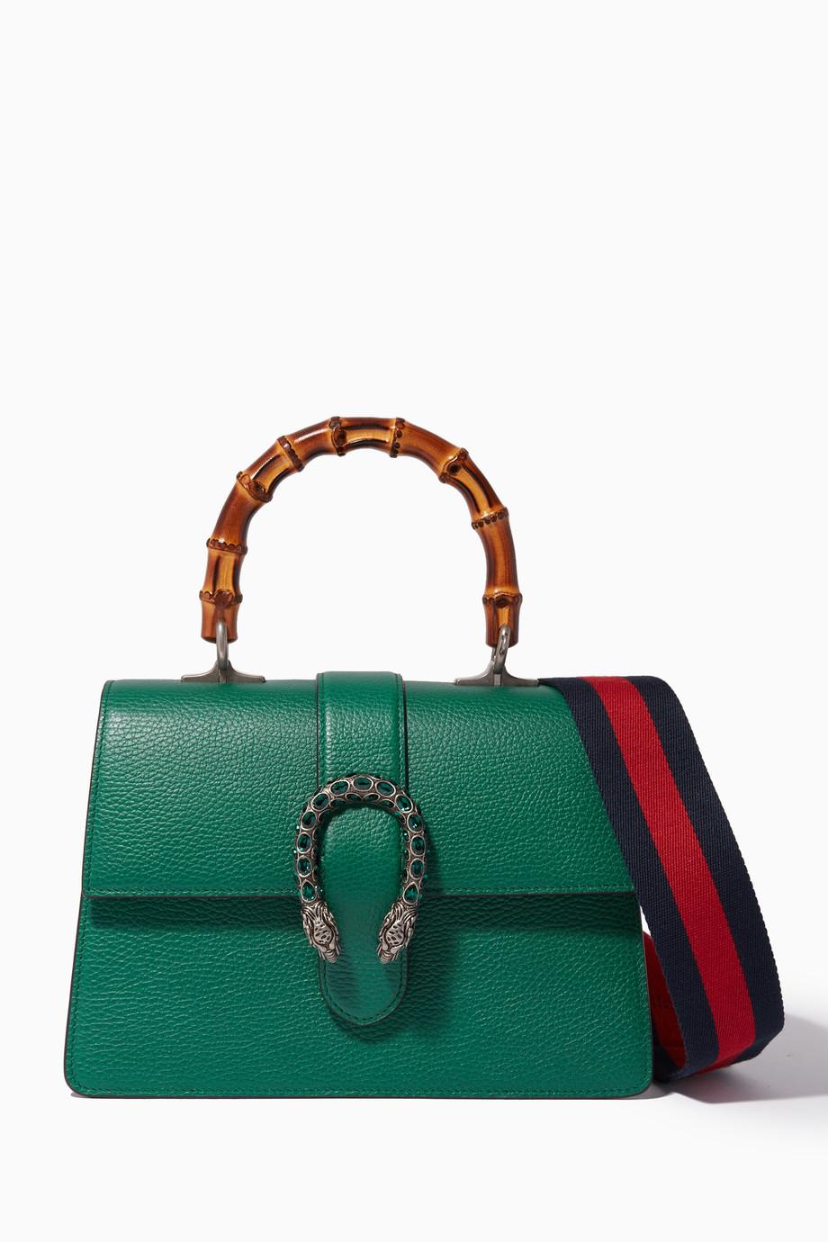 beb9ee20292 Shop Gucci Green Green Medium Dionysus Leather Top Handle Bag ...