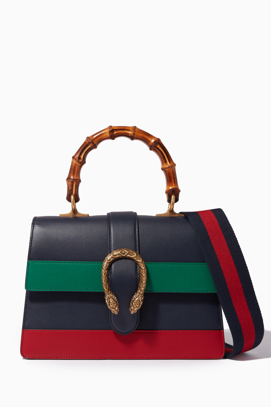 15bd81caa37d Shop Gucci Blue Multi-coloured Dionysus Bamboo Top Handle Bag for ...