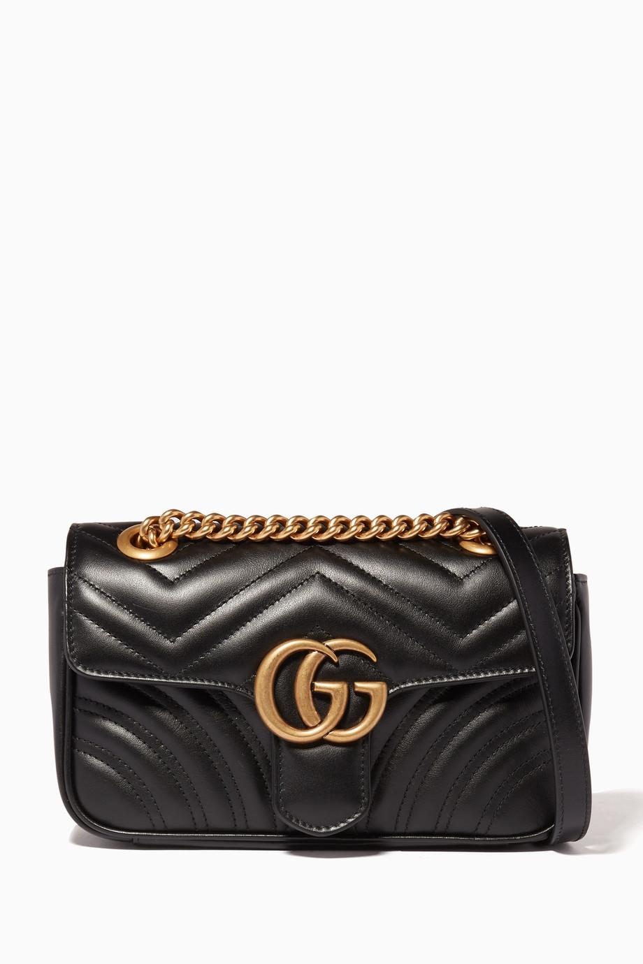 30869c58 Shop Gucci Black Black Mini GG Marmont 2.0 Matelassé Shoulder ...