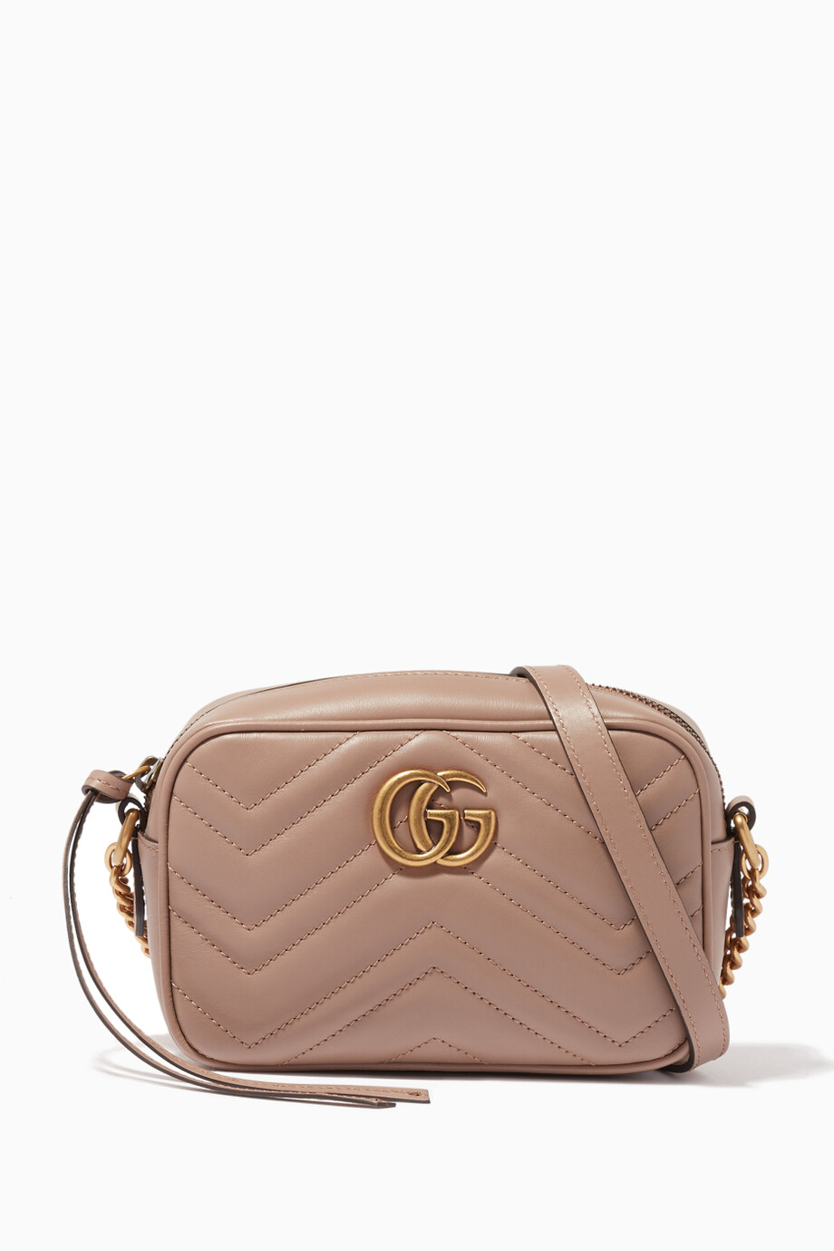 7a6fe47ff2c1 Shop Gucci Neutral Beige Mini GG Marmont Camera Cross-Body Bag for ...