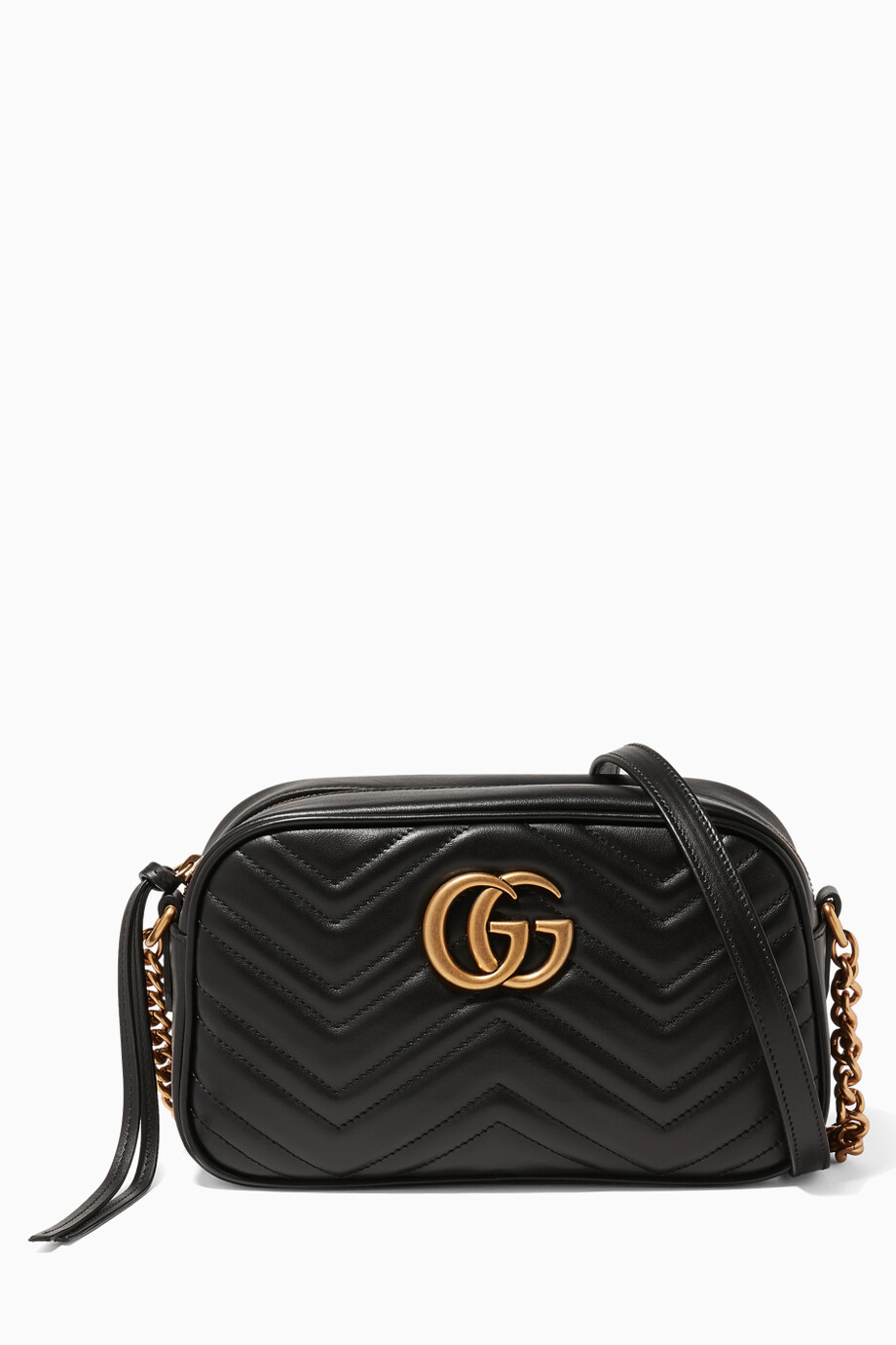 cbed9da41257 Shop Gucci Black Black Mini GG Marmont Matelassé Camera Bag for ...