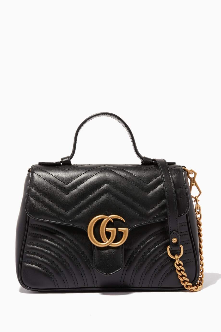 46126bb5a3f Shop Gucci Black Black Small GG Marmont Top Handle Bag for Women ...