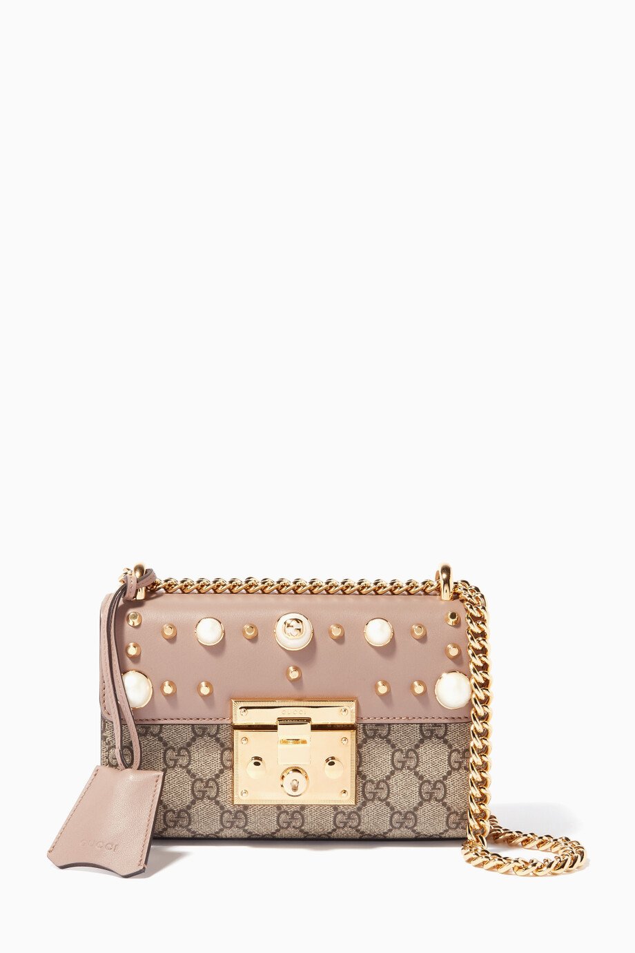 261c82d55 Shop Gucci Pink Pink Small GG Supreme Pearl Shoulder Bag for ...