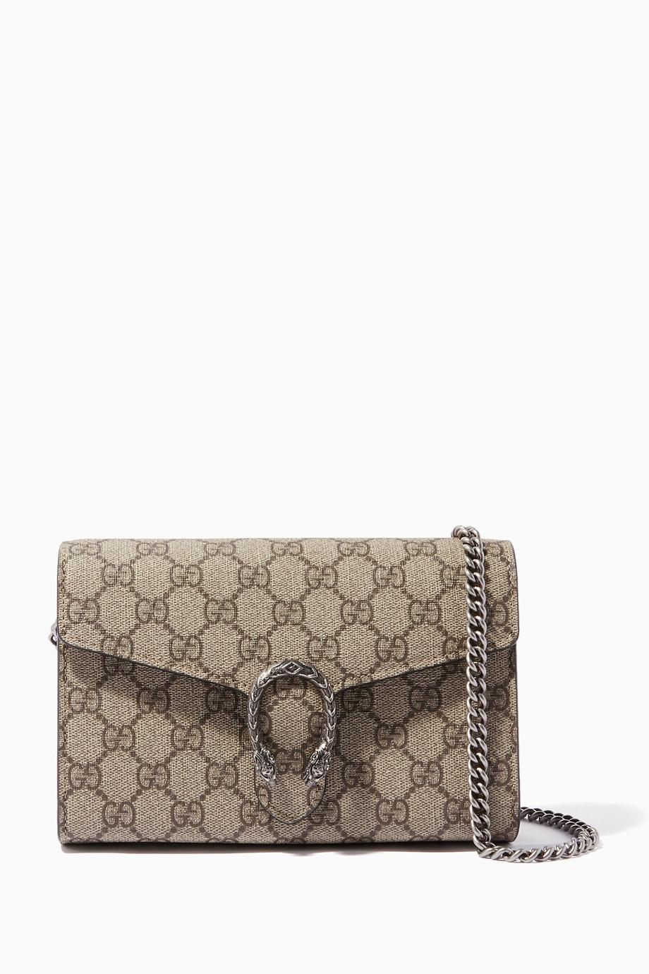 4d8186f5cc7 Shop Gucci Brown Beige Mini Dionysus Leather Chain Shoulder Bag ...