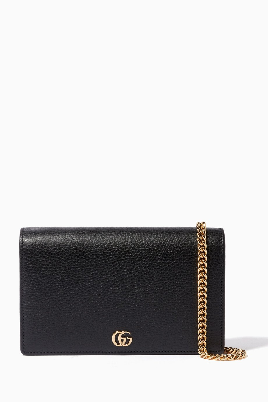 aa09d3b13d0b Shop Gucci Black Black Marmont Leather Chain Wallet for Women ...