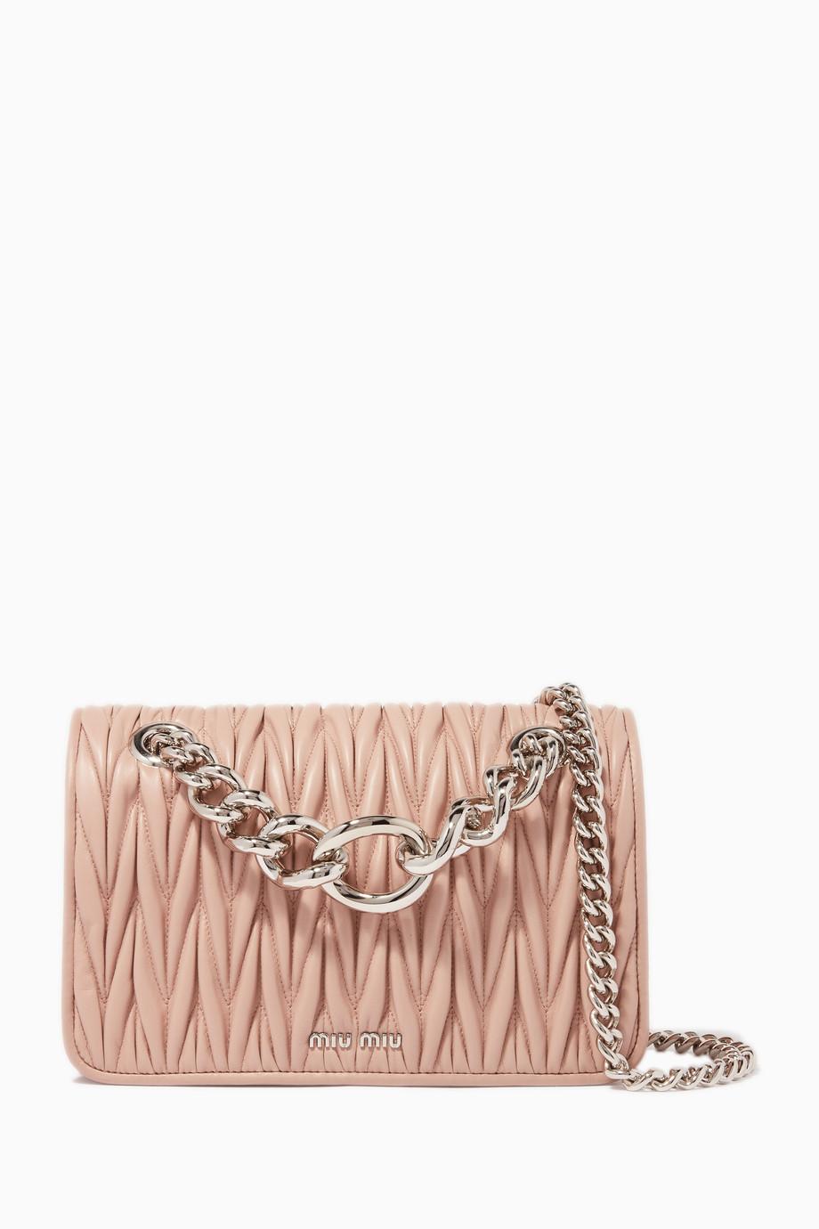 14c1e7c324de Shop Miu Miu Pink Blush Medium Club Chain Shoulder Bag for Women