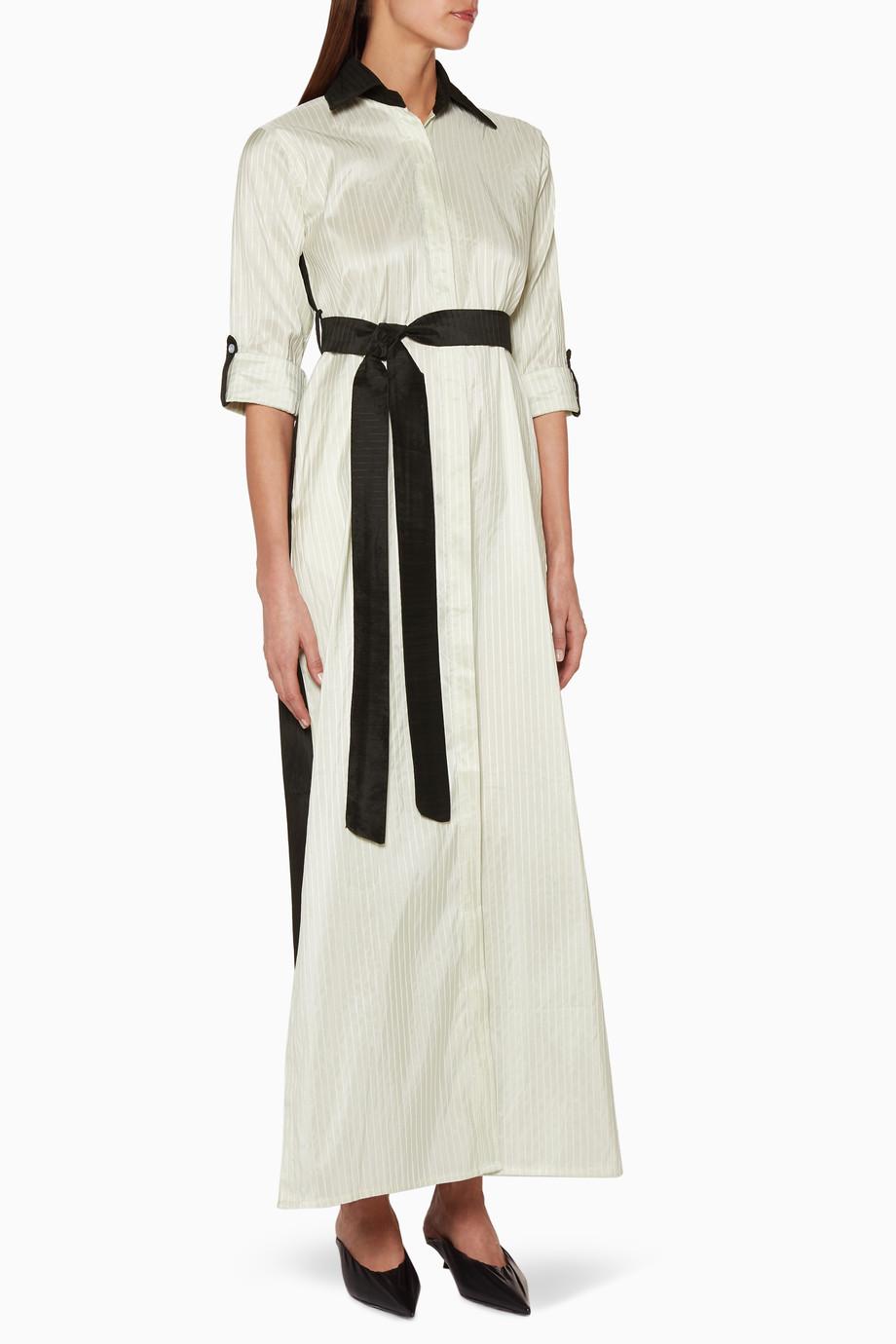 5f2f13ec16bf3 تسوق فستان بنمط قميص حريري متعدد الألوان Nora Al Shaikh ملون للنساء ...