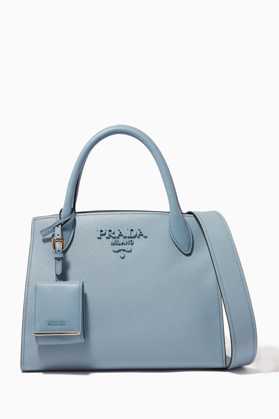 79baff63cc95 Shop Prada Blue Blue Small Monochrome Saffiano Tote Bag for Women ...
