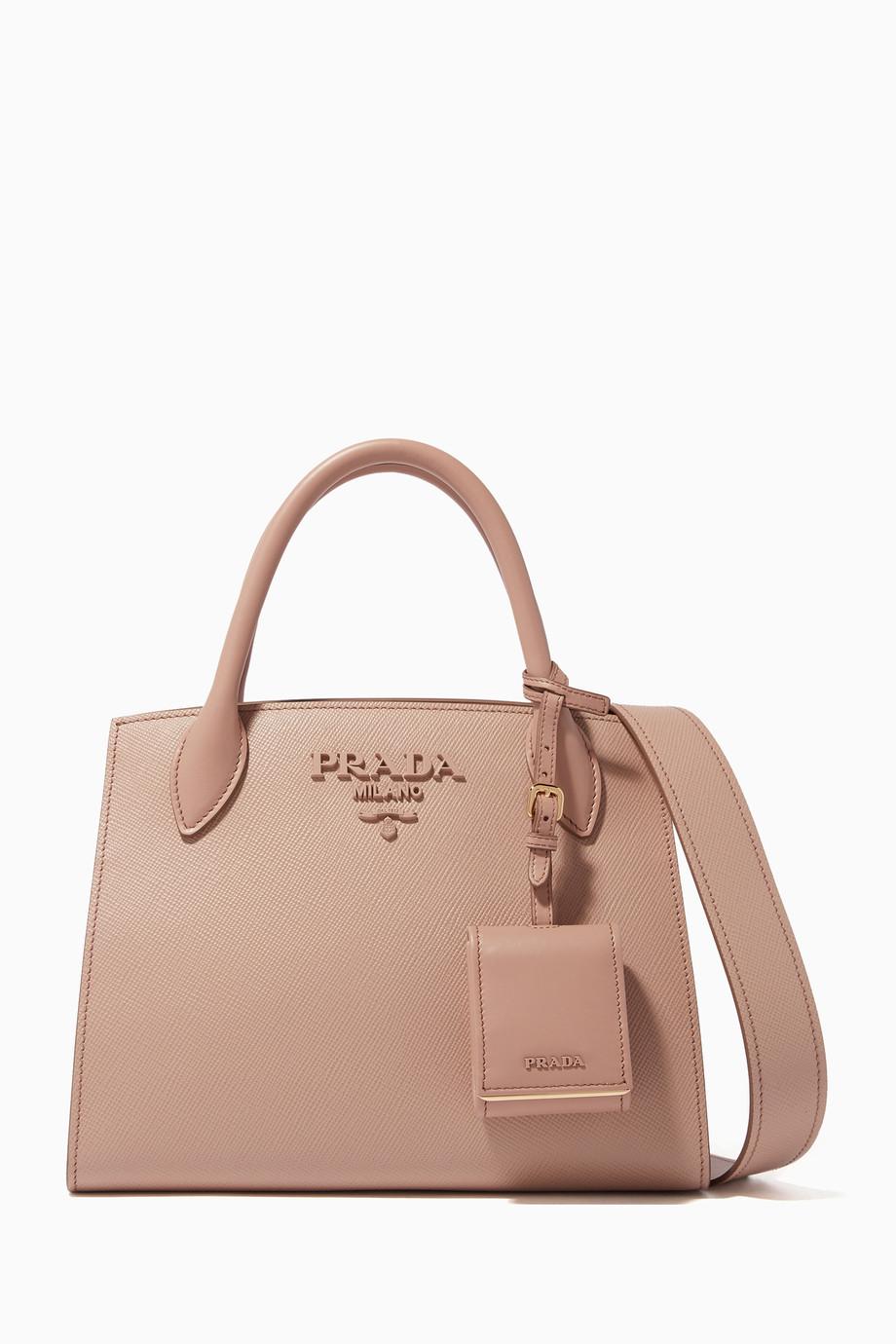 2a1c128eb98b Shop Prada Pink Rose Small Monochrome Tote Bag for Women | Ounass UAE