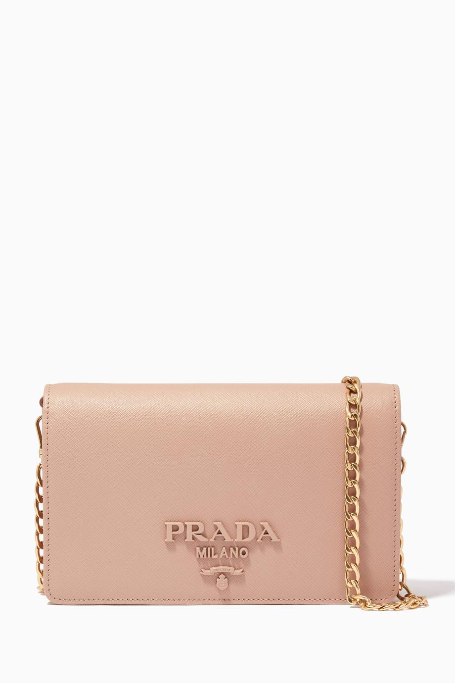 fcb8b5c2926d Shop Prada Neutral Powder-Pink Monochrome Wallet Chain Bag for Women ...