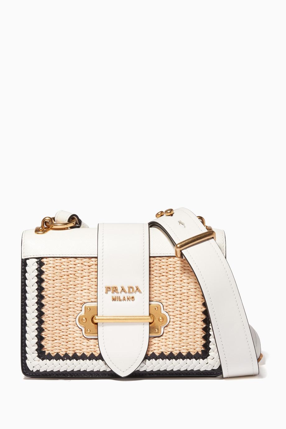 Shop Prada White White Small Raffia Cahier Leather Shoulder Bag for ... b36d83f86b25a