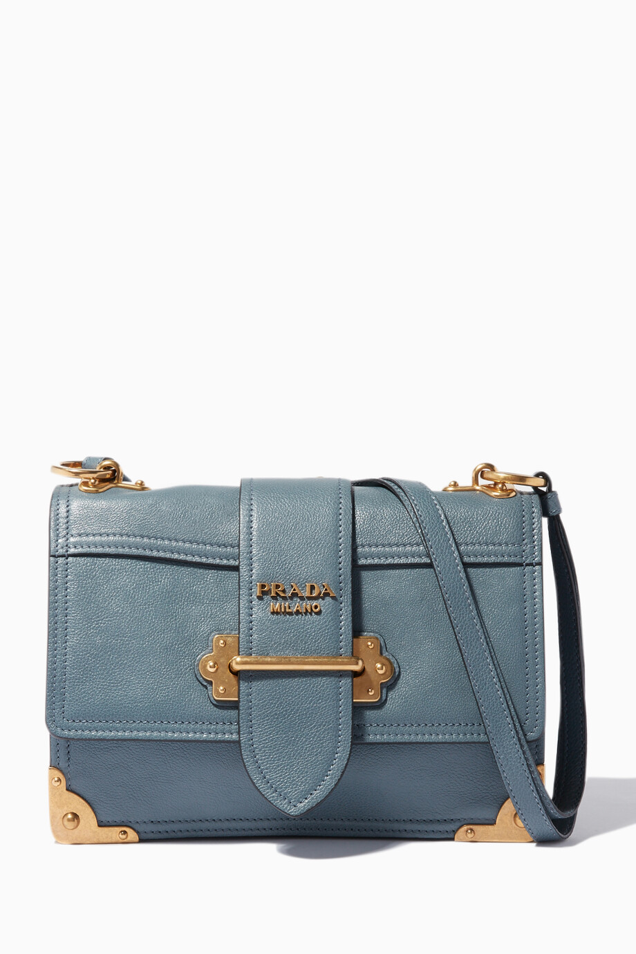 d92a7c66baff Shop Prada Blue Marine Cahier Leather Cross-Body Bag for Women ...