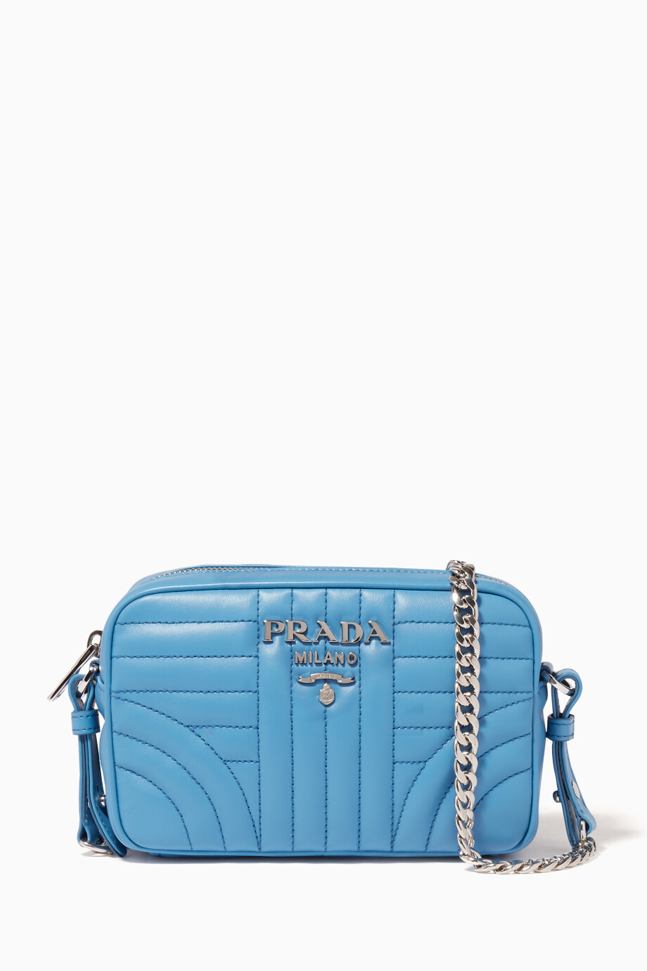 73c35515e4f8 Shop Prada Blue Blue Small Diagram-Quilted Camera Bag for Women ...