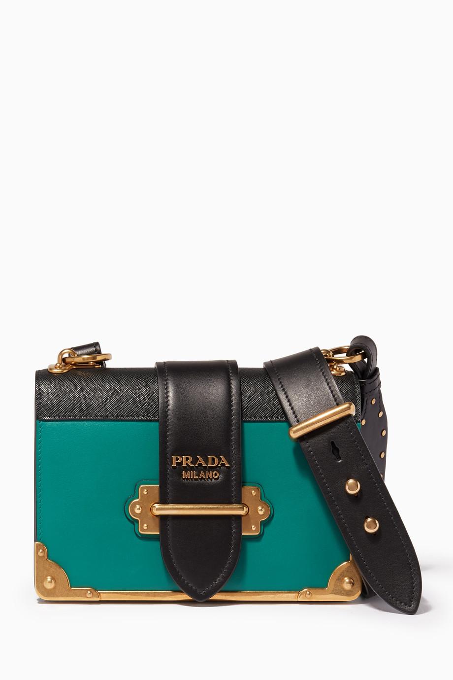 bee3affef692 Shop Prada Green Dark-Green   Black Cahier Leather Cross-Body Bag ...