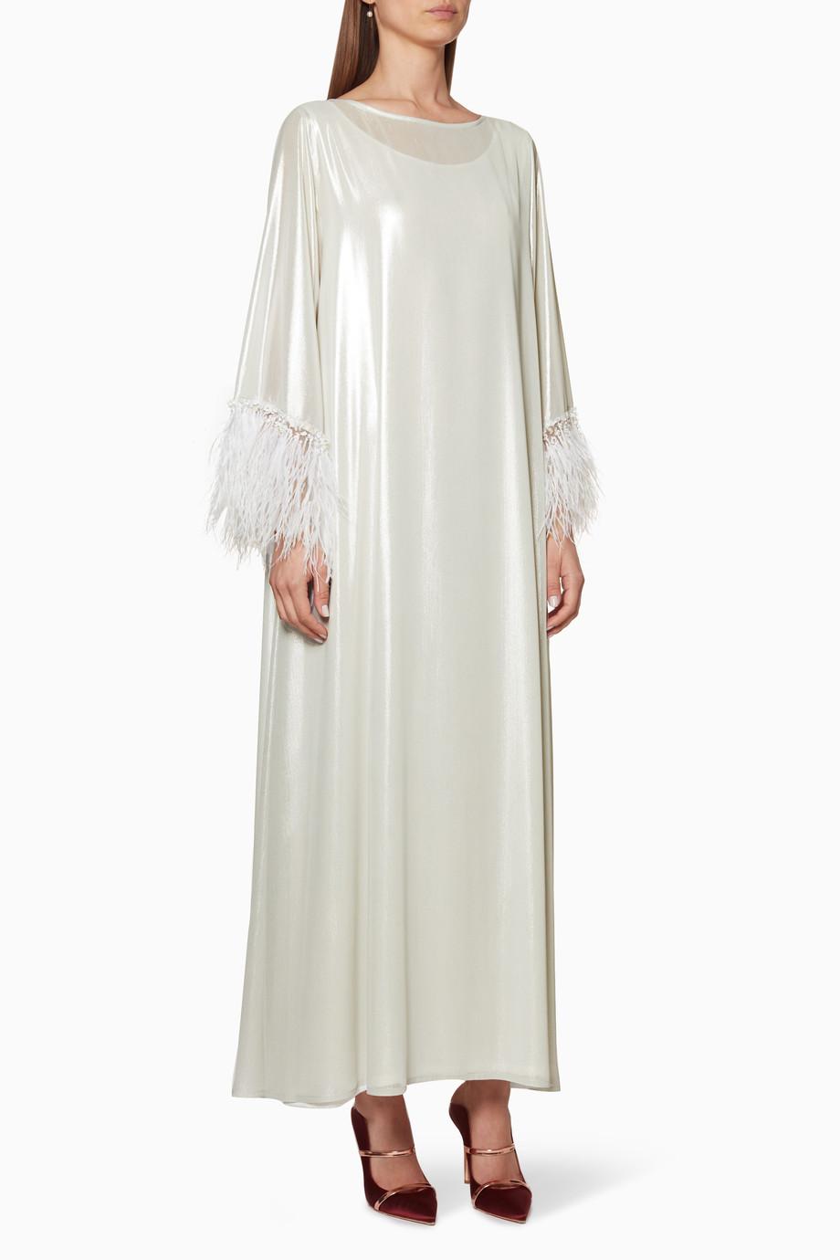 6df87b197 تسوق فستان بأكمام مزينة بالريش أبيض كريمي لون طبيعى لل | اُناس السعودية