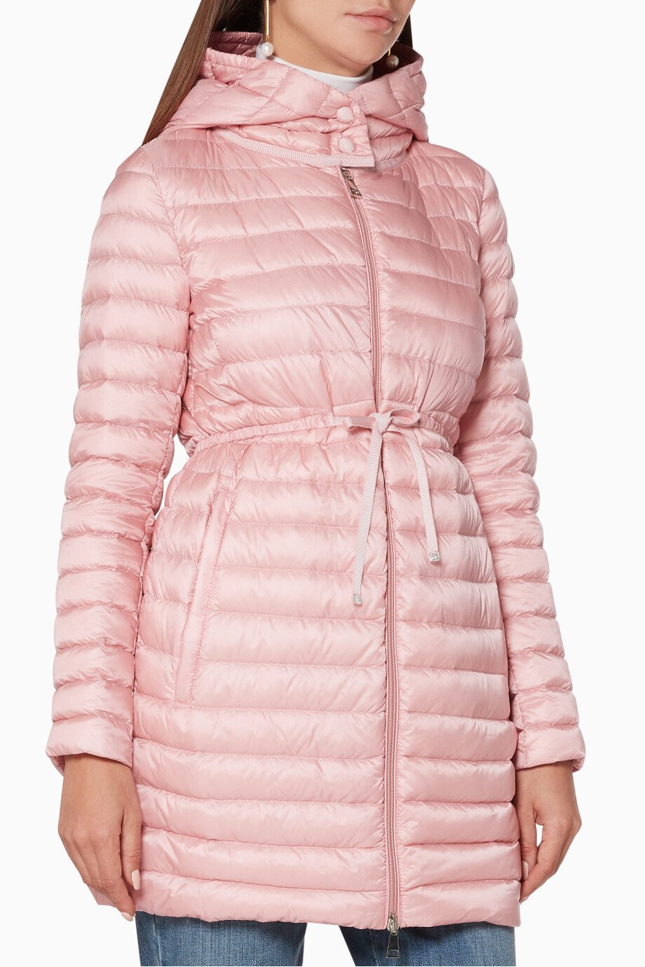 e4b9b1ed4 Shop Moncler Pink Barbel Quilted Hooded Coat for Women | Ounass