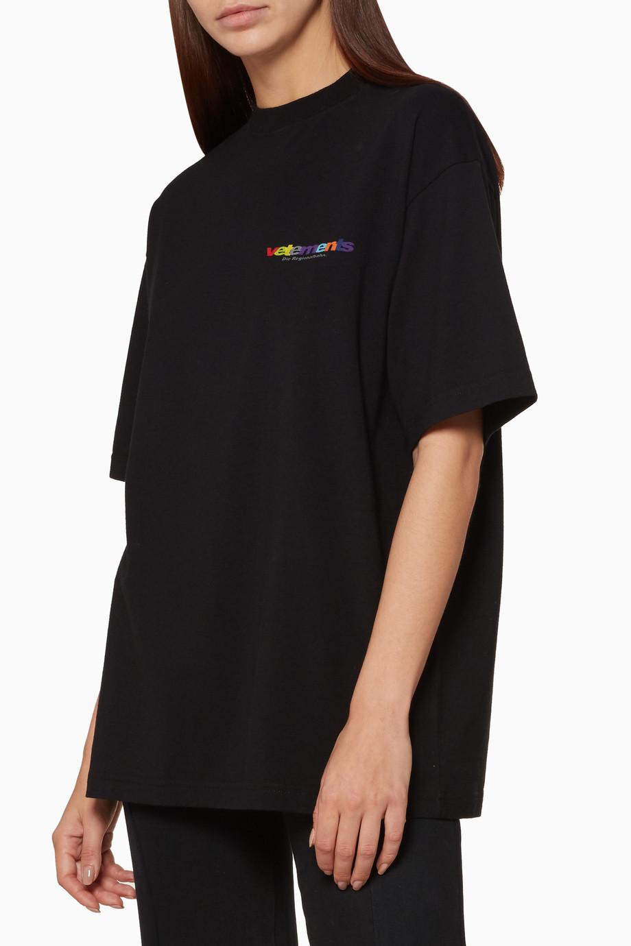 53f35d58 Shop Vetements Black Black Metal Oversized T-Shirt for Women ...