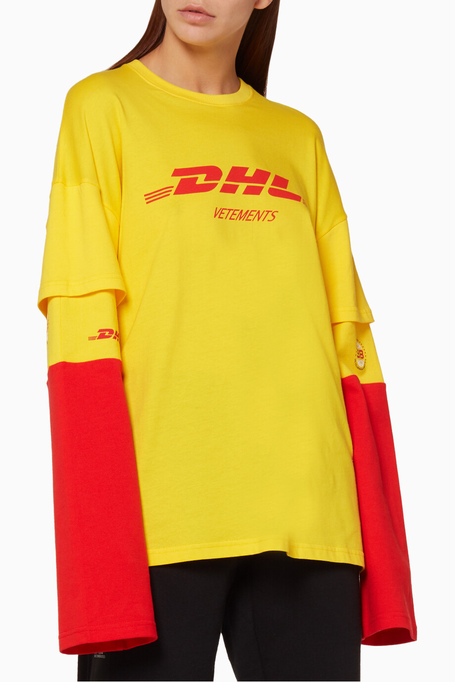 eda921ee2e15 Shop Vetements Yellow Yellow DHL Printed Long Sleeved T-Shirt for ...