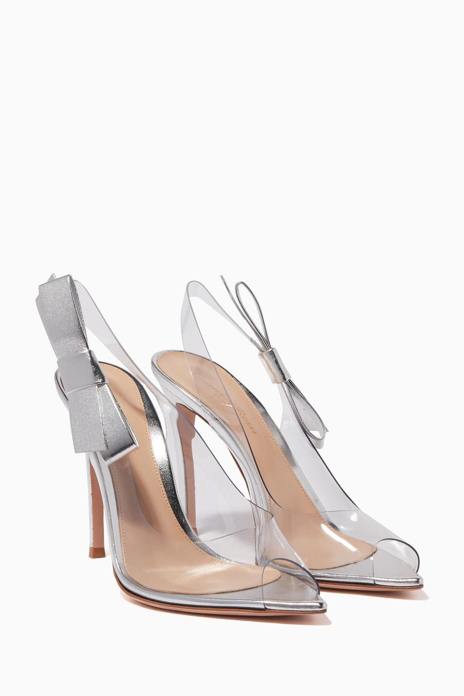 cdecfb84596d Shop Gianvito Rossi Silver Silver Valentina PVC Sandals for Women ...