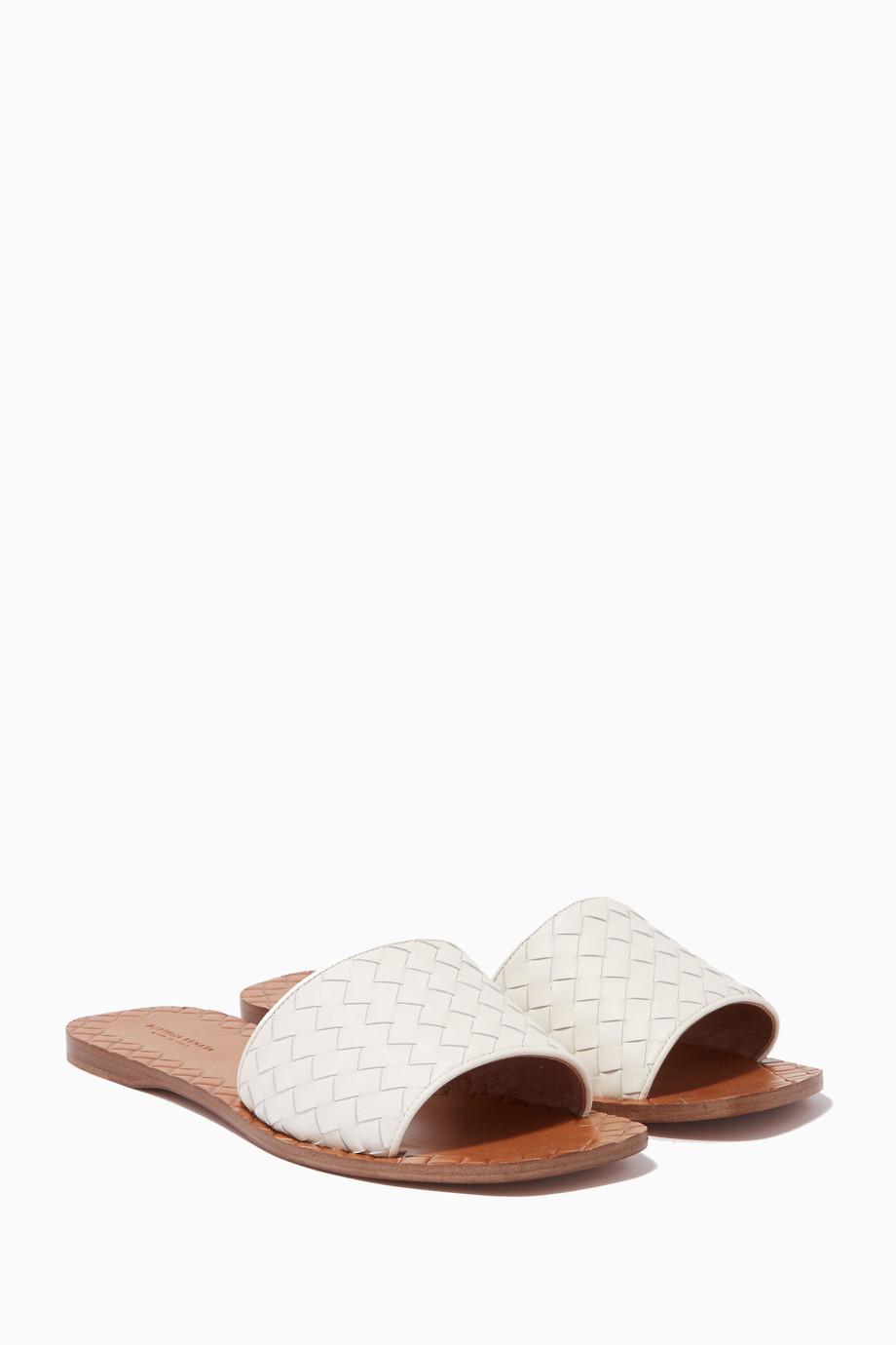 f47d8297a0d17 Shop Bottega Veneta White White Ravello Intrecciato Sandals for ...