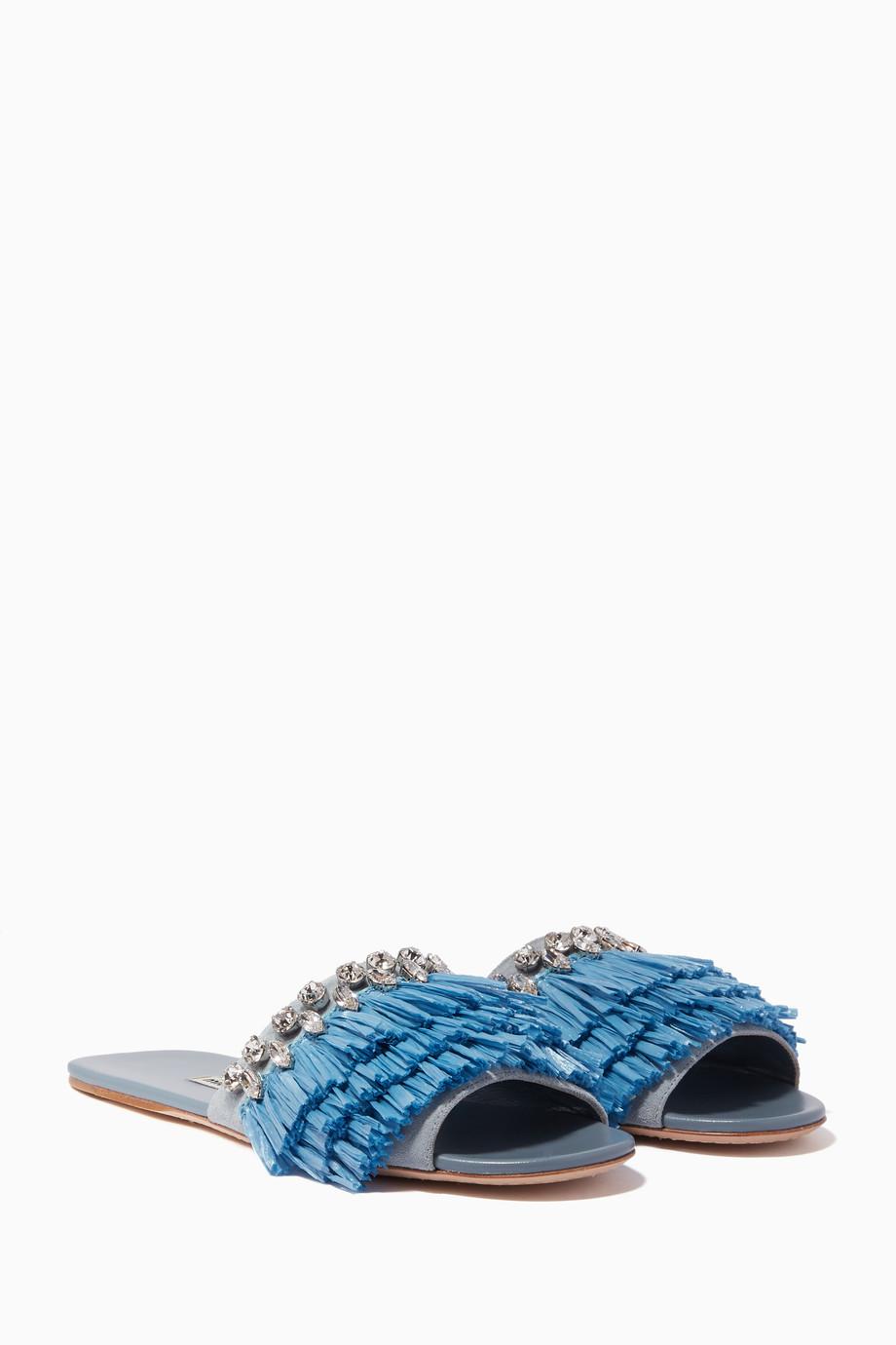 7e26835a227 Shop Miu Miu Blue Blue Raffia   Crystal Embellished Sandals for ...