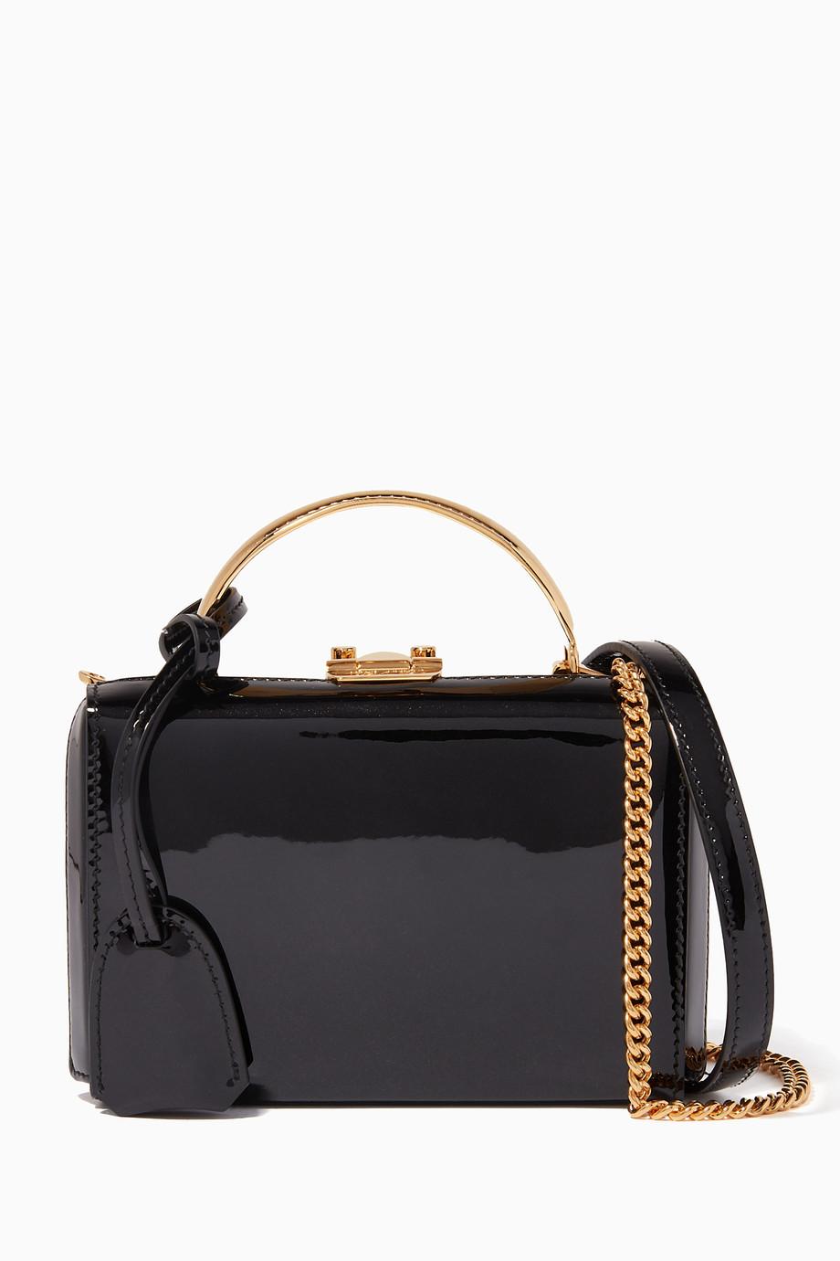 4d0c383b6500 Shop Mark Cross Black Black Mini Patent Stardust Grace Box Bag for ...