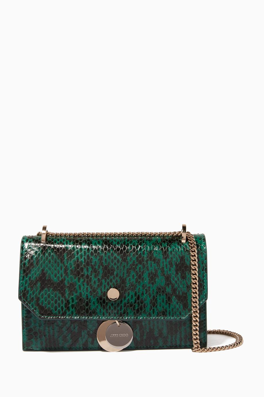 2cb9dcd6566 Shop Jimmy Choo Green Emerald-Green Mini Elaphe Finley Shoulder Bag ...