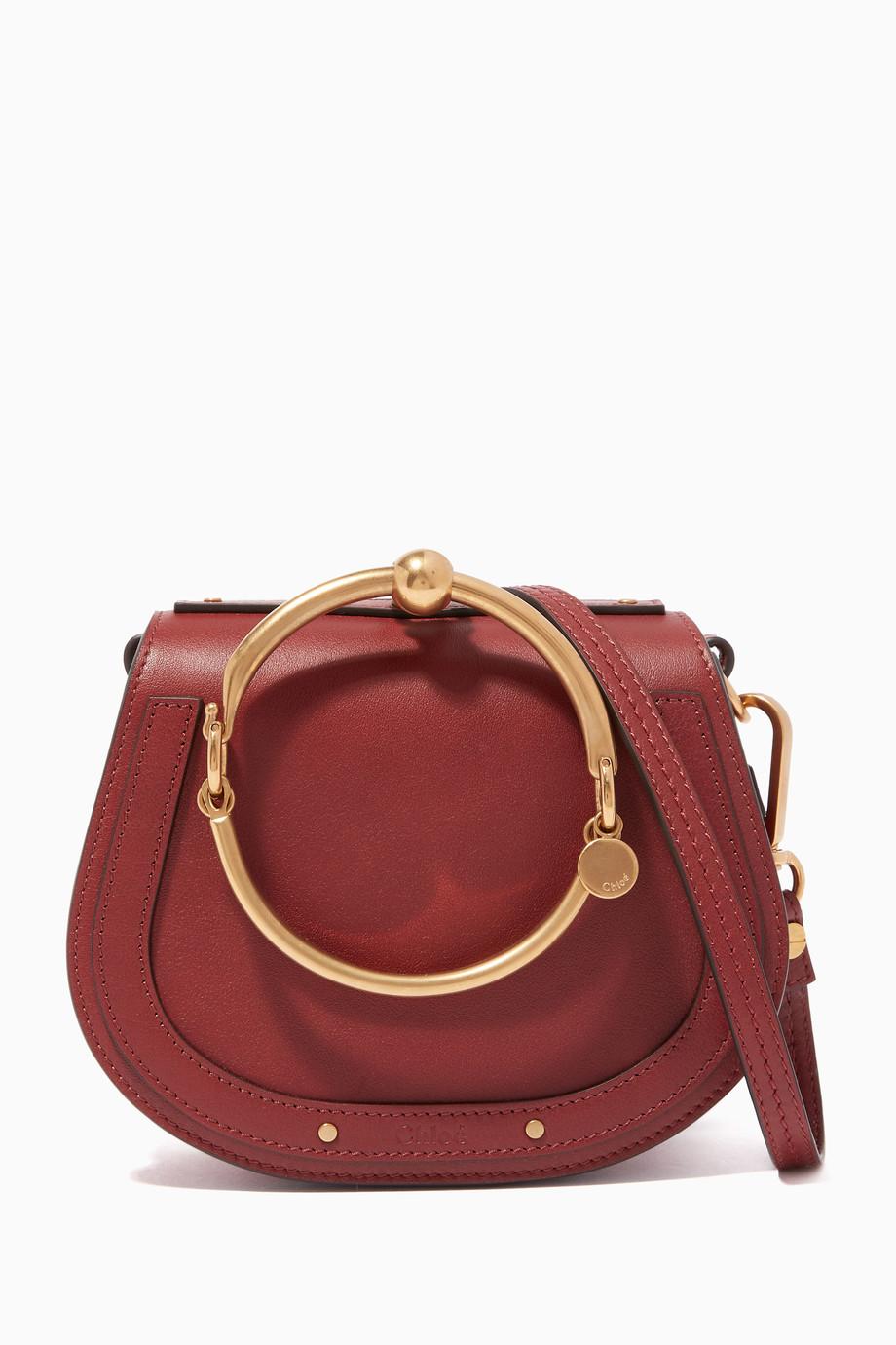 2028b8ca05ef4 Shop Chloé Red Sirenne Red Small Nile Bracelet Bag for Women | Ounass
