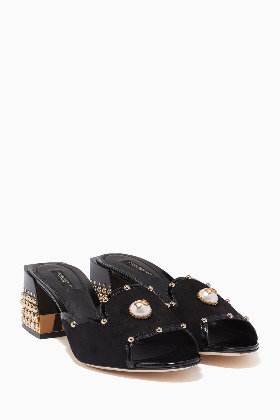 f6655be6e75 Shop Dolce   Gabbana Black Black Bianca Suede Embellished Sandals ...