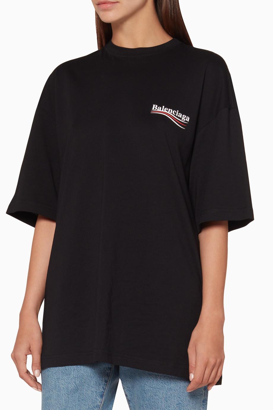 048cc24358e2 Shop Balenciaga Black Black Political Logo Oversized T-Shirt for ...