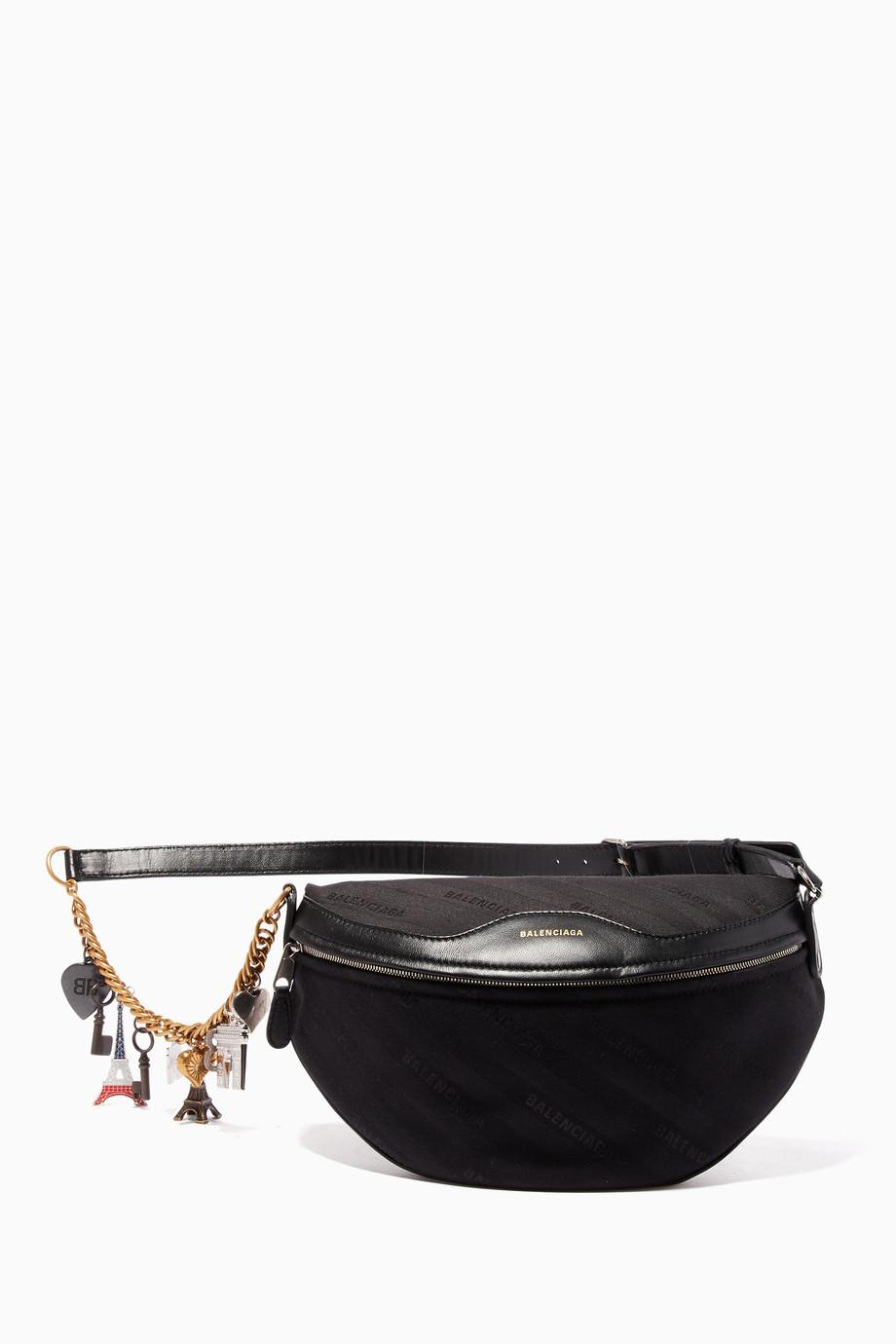 0ad5670631fd Shop Balenciaga Black Black Canvas Souvenir Belt Bag for Women ...