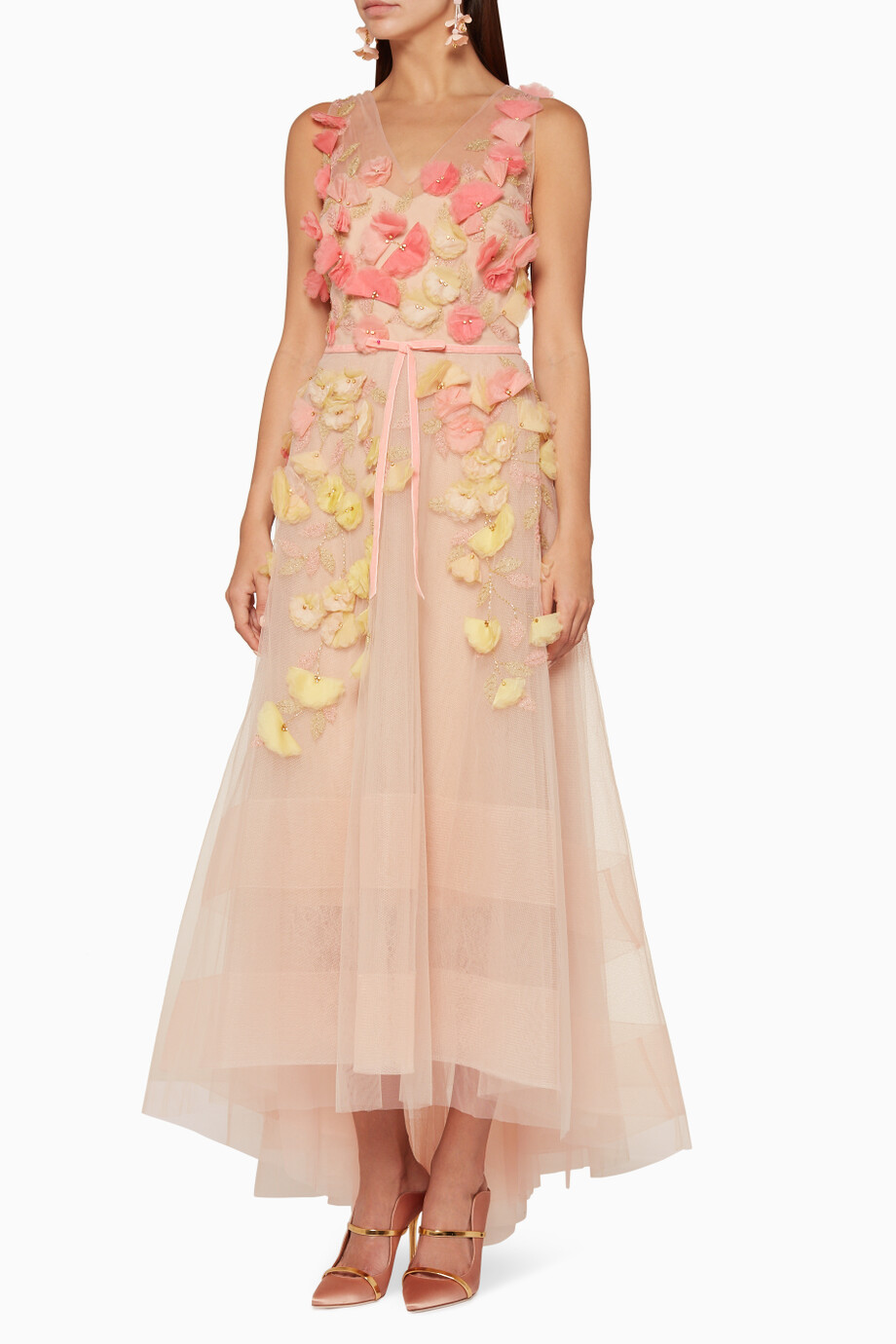 767d0a2e Shop Marchesa Notte Pink Pastel-Pink 3D Flower Embellished Gown for ...