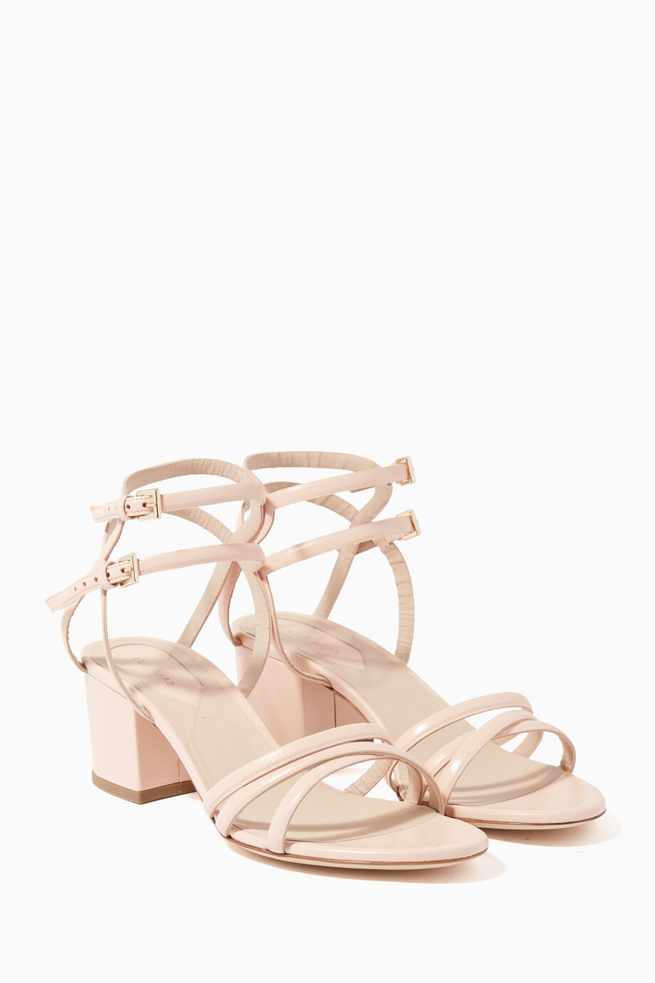 92a1d6d8f894 Shop Elie Saab Neutral Blush Leather Block-Heel Sandals for Women ...