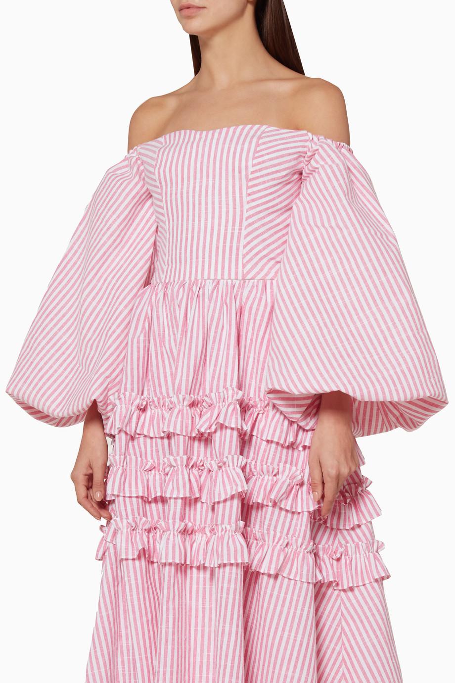 2edbe69af57f Shop Bambah Boutique Pink Light-Pink Striped Globo Top for Women ...