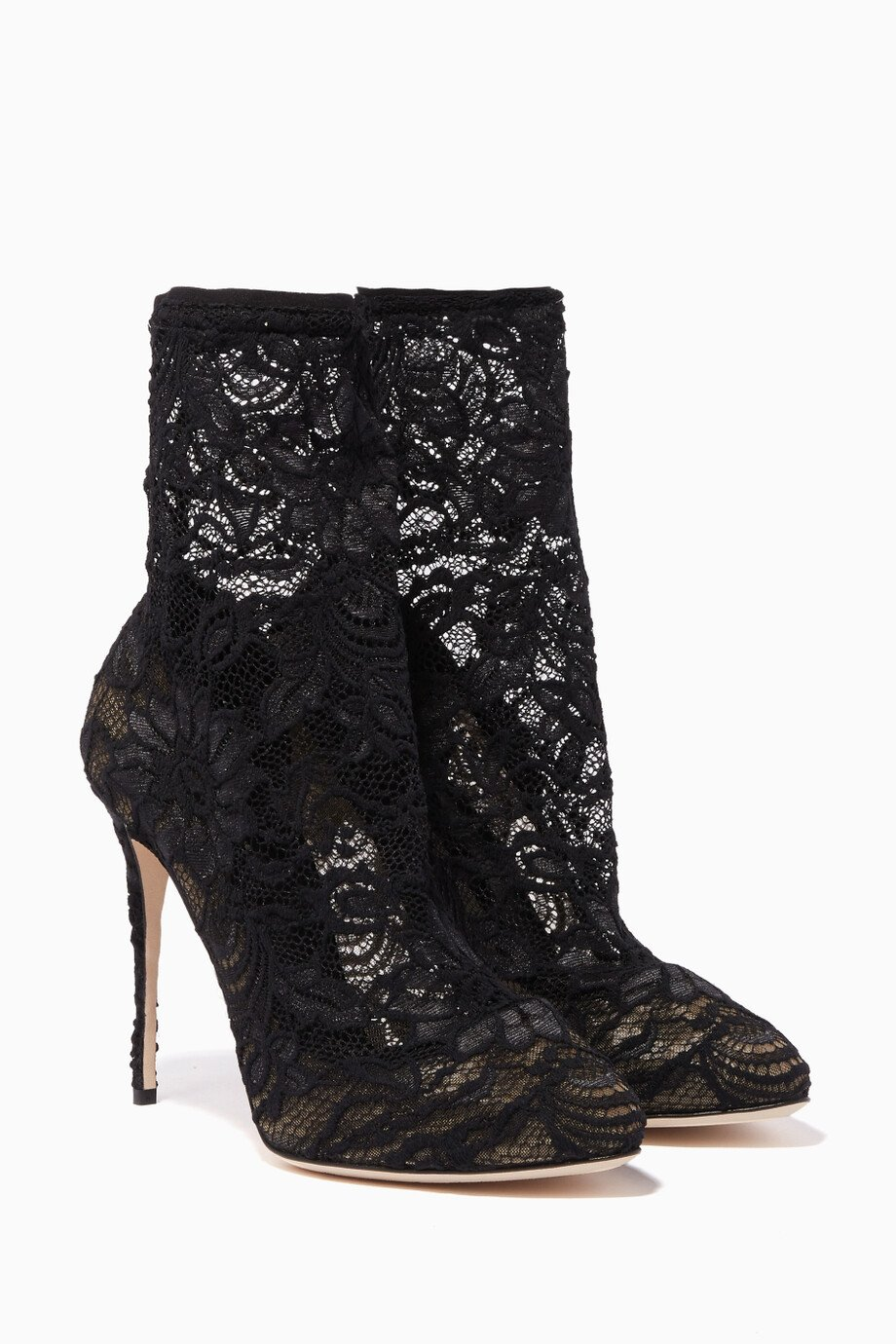5f0d9fe0ee84 Shop Dolce & Gabbana Black Black Coco Lace Sock Boots for Women | Ounass